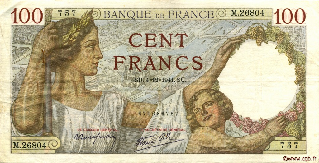 100 Francs SULLY FRANCE  1941 F.26.62 TTB