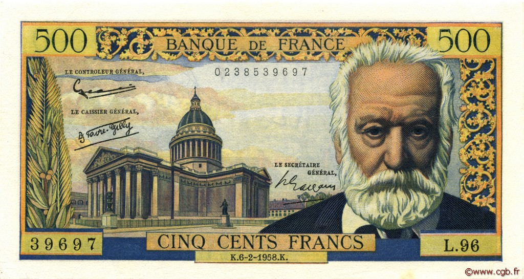 500 Francs VICTOR HUGO FRANCE  1958 F.35.08 SUP