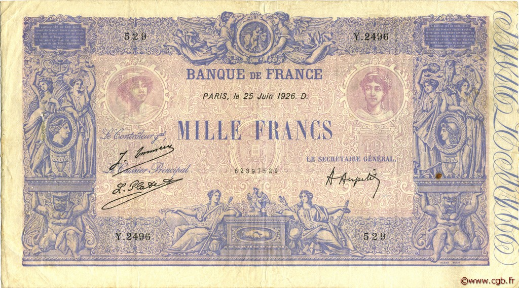1000 Francs BLEU ET ROSE FRANCE  1926 F.36.42 pr.TTB