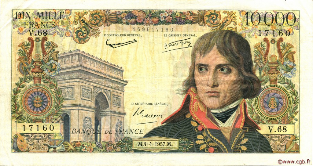 10000 Francs BONAPARTE FRANCE  1957 F.51.07 TTB