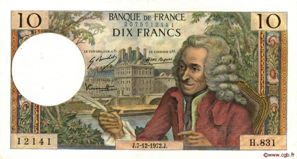 10 Francs VOLTAIRE FRANCE  1972 F.62.59 pr.SUP