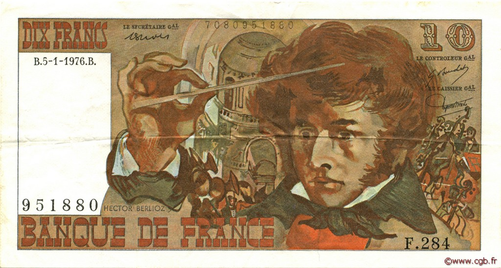 10 Francs BERLIOZ FRANCE  1976 F.63.17 TTB