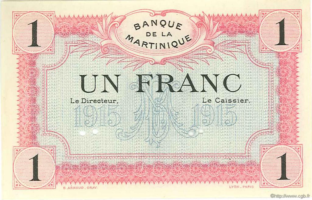 1 Franc MARTINIQUE  1915 P.10s SPL