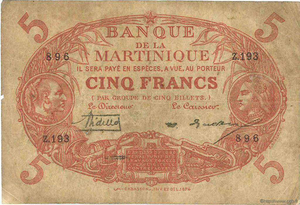 5 Francs Cabasson rouge MARTINIQUE  1929 P.06A B+
