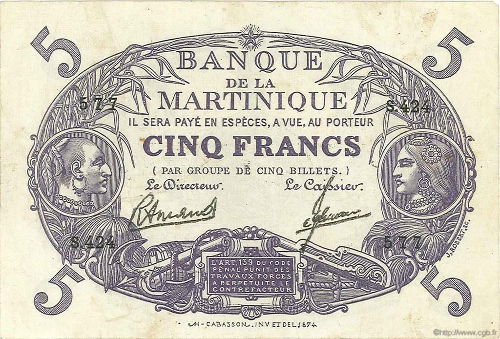 5 Francs Cabasson violet MARTINIQUE  1946 P.06C pr.TTB