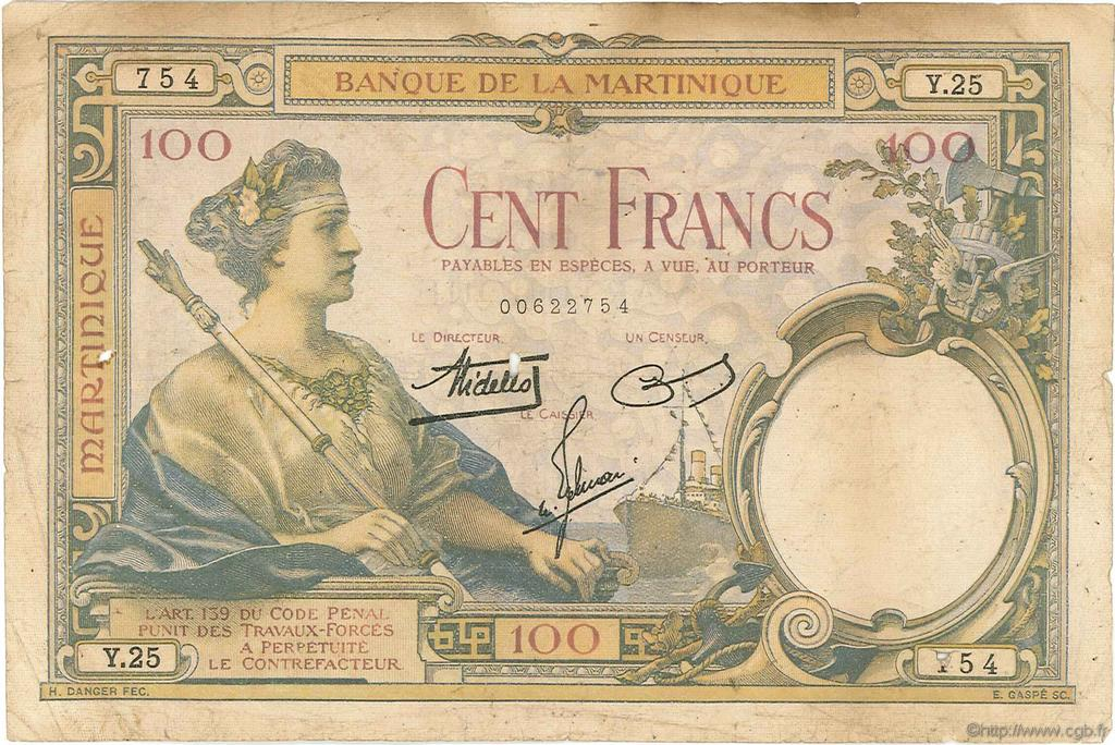 100 Francs MARTINIQUE  1938 P.13 TB