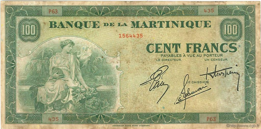 100 Francs  MARTINIQUE  1944 P.19a TB