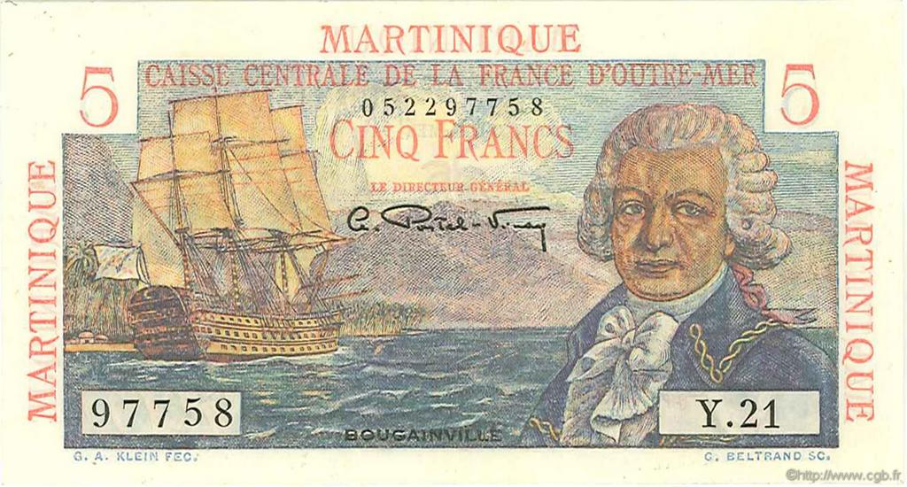 5 Francs Bougainville MARTINIQUE  1946 P.27a SUP+