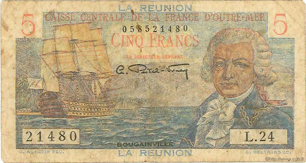 5 francs bougainville le de la r union 1946 b54 0191 billets. Black Bedroom Furniture Sets. Home Design Ideas