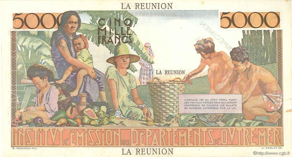 5000 francs schoelcher le de la r union 1960 sup b54 0275 billets. Black Bedroom Furniture Sets. Home Design Ideas