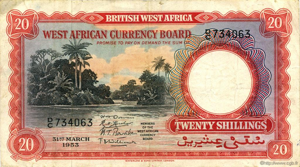 20 Shillings AFRIQUE OCCIDENTALE BRITANNIQUE  1953 P.10a TTB+