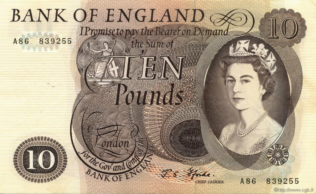 10 Pounds ANGLETERRE  1966 P.376b SUP