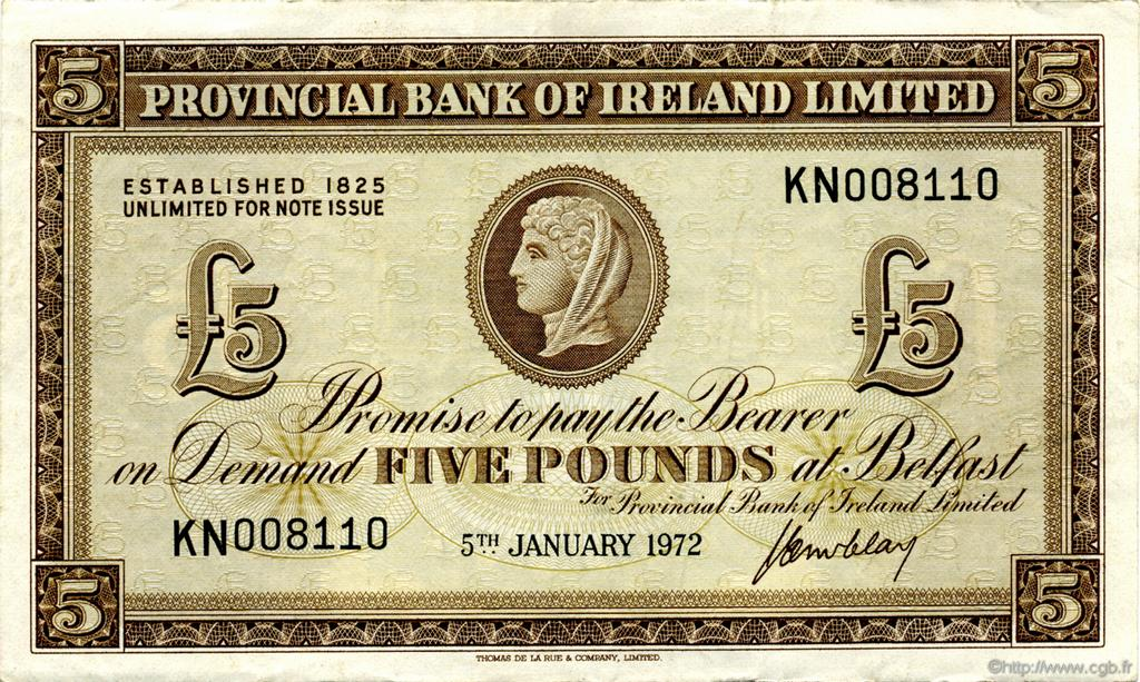 5 Pounds IRLANDE DU NORD  1972 P.246 SUP