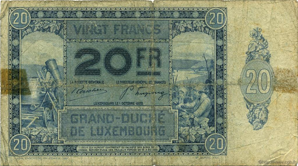 20 Francs LUXEMBOURG  1929 P.37a B