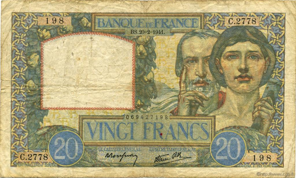 20 Francs SCIENCE ET TRAVAIL FRANCE  1941 F.12.12 TB