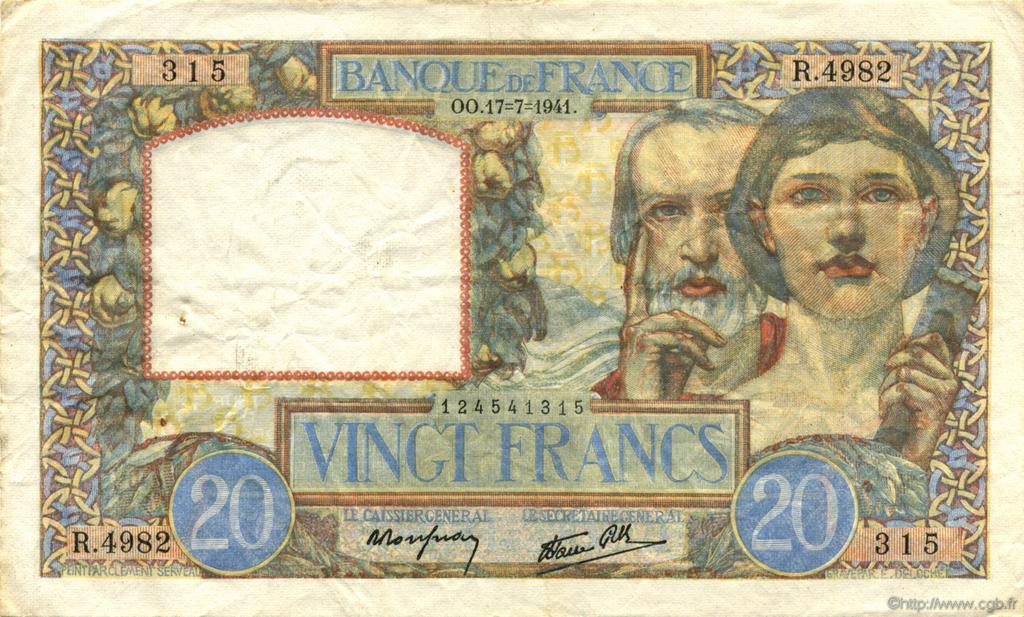 20 Francs SCIENCE ET TRAVAIL FRANCE  1941 F.12.16