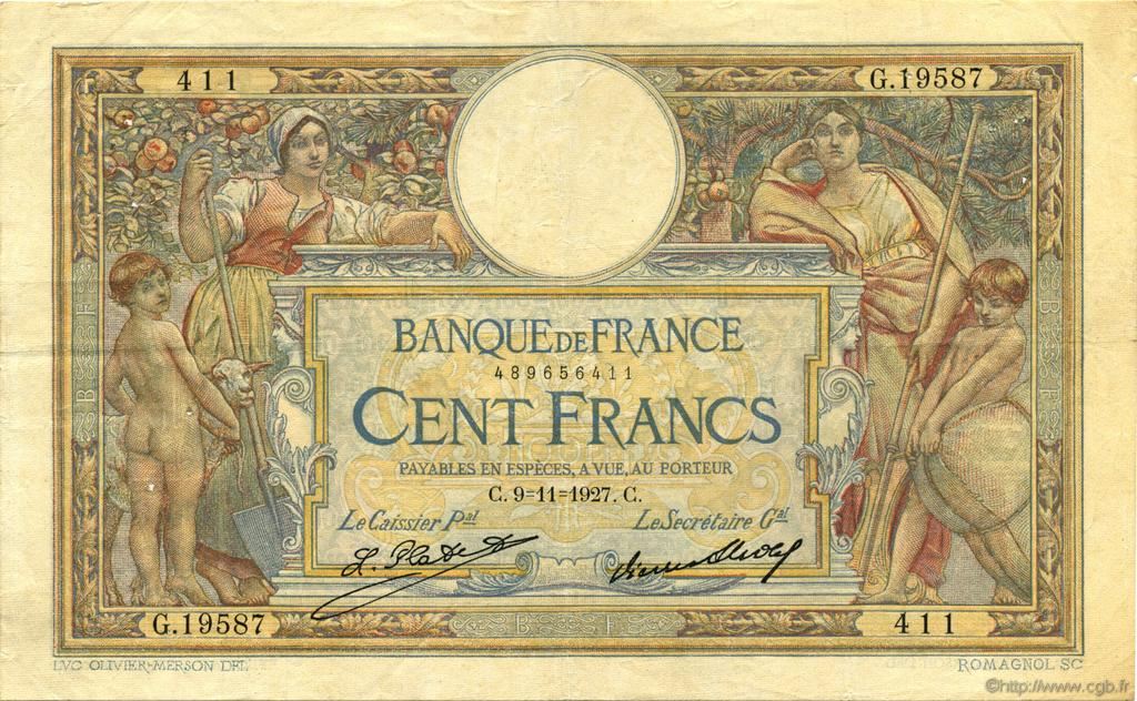 100 Francs LUC OLIVIER MERSON grands cartouches FRANCE  1927 F.24.06 TTB