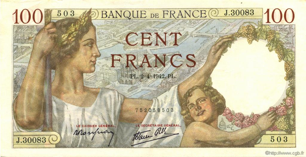 100 Francs SULLY FRANCE  1942 F.26.69 TTB à SUP
