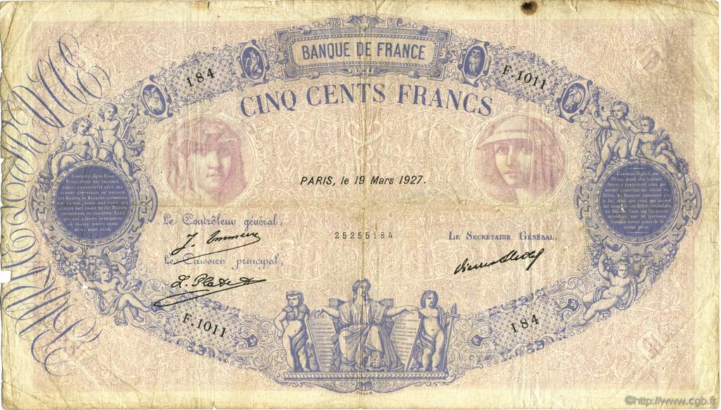 500 Francs BLEU ET ROSE FRANCE  1927 F.30.30 B