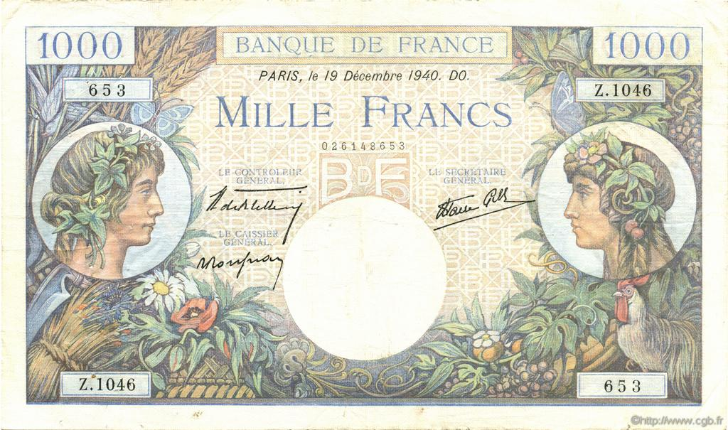 1000 Francs COMMERCE ET INDUSTRIE FRANCE  1940 F.39.03 TTB