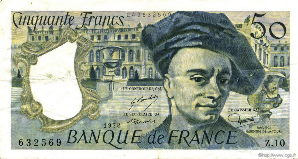 50 Francs QUENTIN DE LA TOUR FRANCE  1978 F.67.03 TTB+