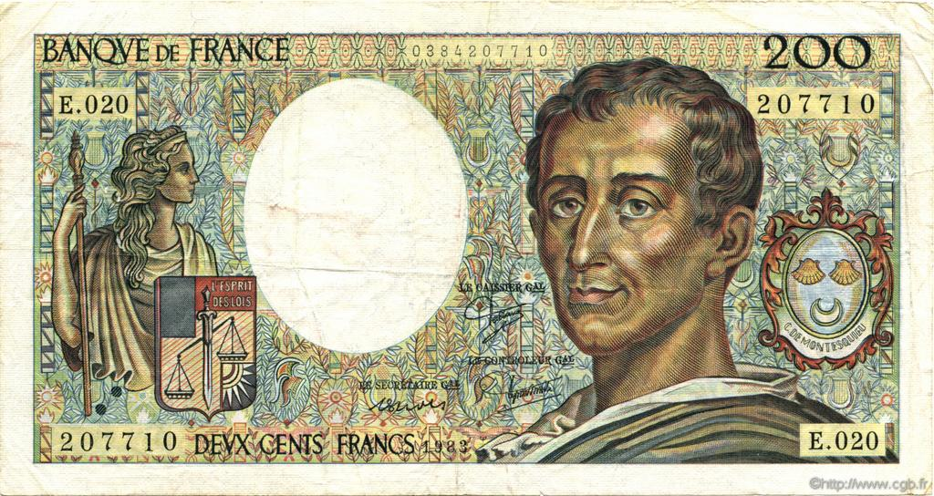 200 Francs MONTESQUIEU FRANCE  1983 F.70.03 TTB