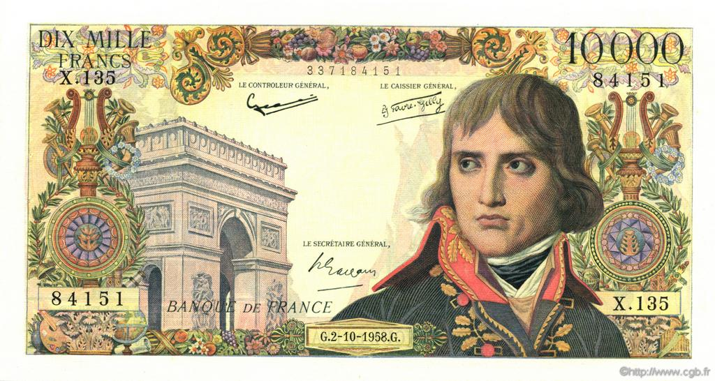 10000 Francs BONAPARTE FRANCE  1958 F.51.13 SPL