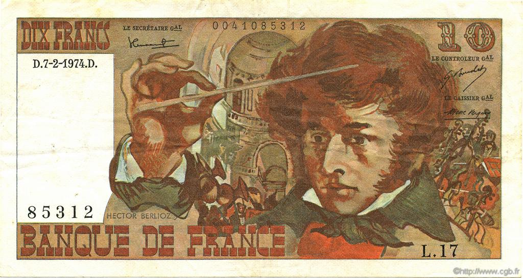 10 Francs BERLIOZ FRANCE  1974 F.63.03 TTB