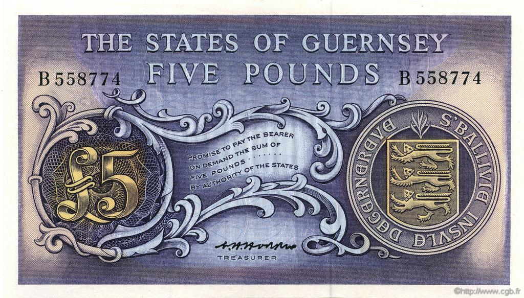5 Pounds GUERNESEY  1969 P.46b SPL