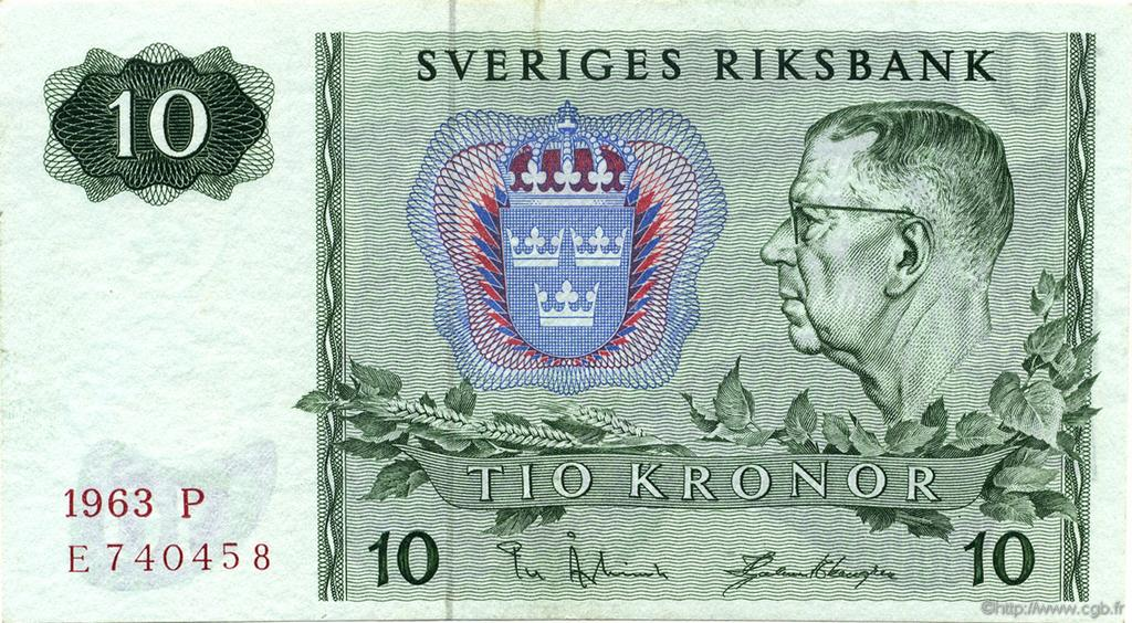 10 Kronor SUÈDE  1963 P.52a NEUF