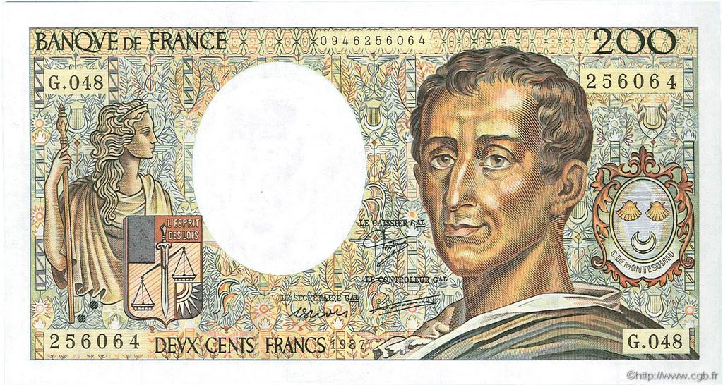 200 Francs MONTESQUIEU FRANCE  1987 F.70.07 SPL