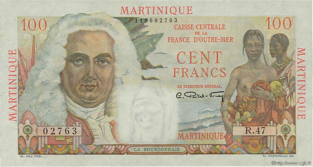 100 Francs La Bourdonnais MARTINIQUE  1946 P.31 pr.SUP