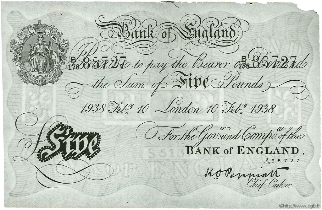 5 Pounds ANGLETERRE  1938 P.335a TTB+