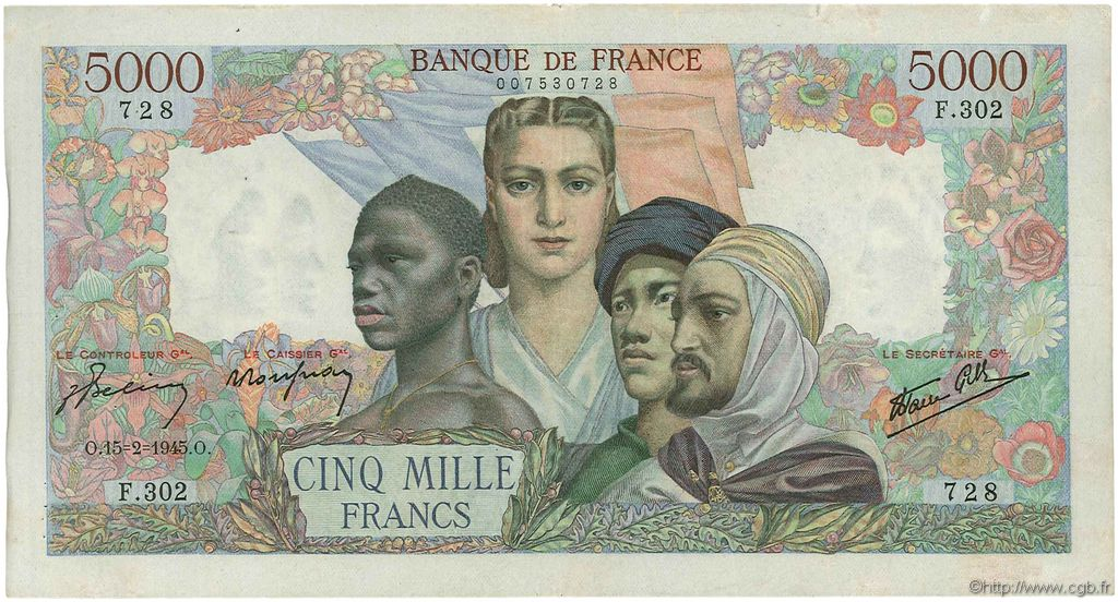 5000 Francs EMPIRE FRANÇAIS FRANCE  1945 F.47.13 TTB