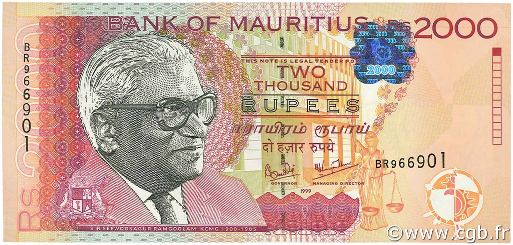 2000 Rupees ÎLE MAURICE  1999 P.55 NEUF