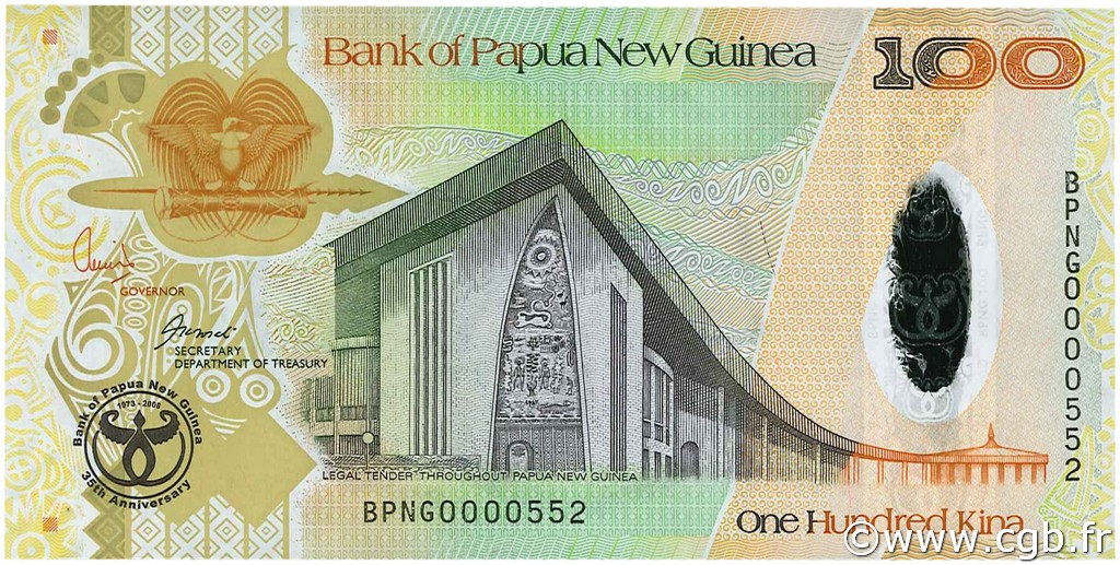 100 Kina PAPOUASIE NOUVELLE GUINÉE  2008 P.37 NEUF