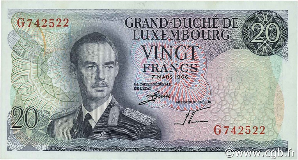 20 Francs LUXEMBOURG  1966 P.54a SPL