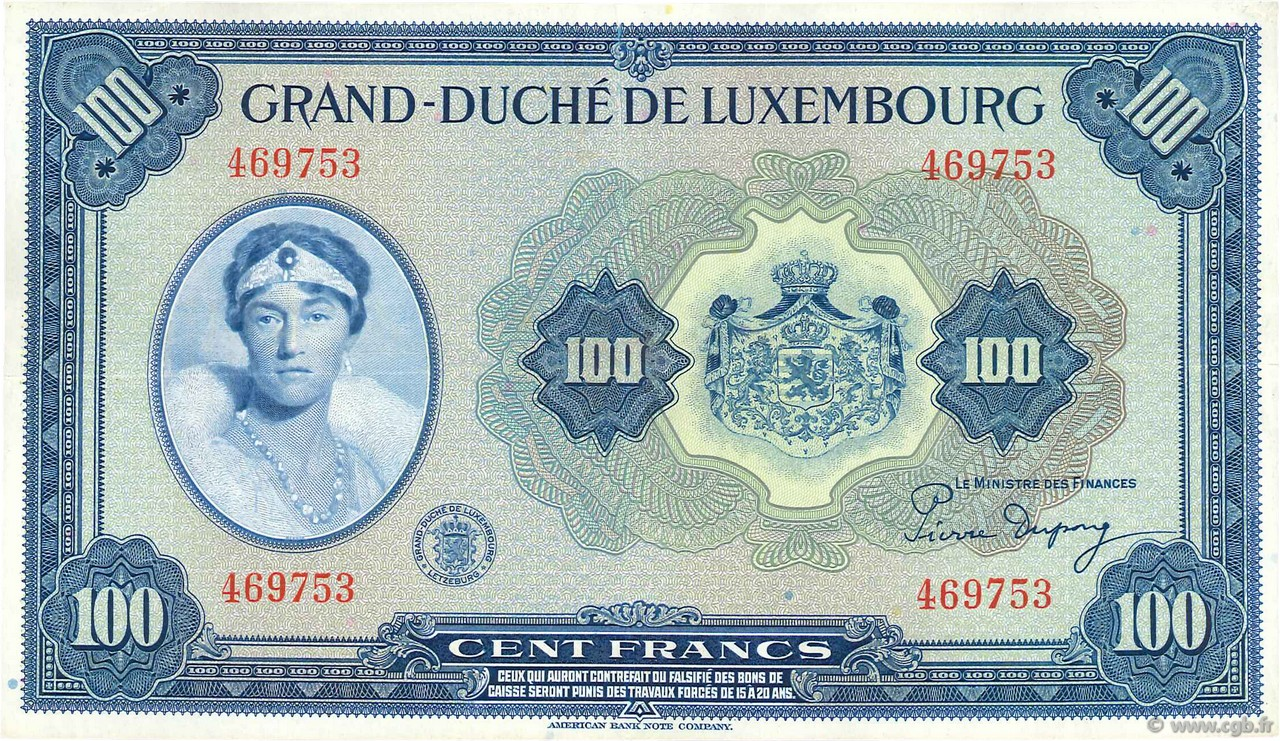 100 Francs LUXEMBOURG  1944 P.47 pr.SUP
