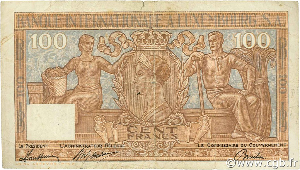 100 Francs LUXEMBOURG  1947 P.12 TB