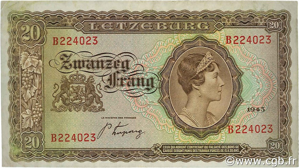 20 Frang LUXEMBOURG  1943 P.42 TTB à SUP