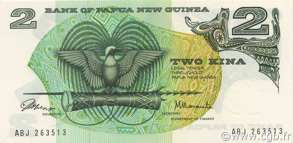 2 Kina PAPOUASIE NOUVELLE GUINÉE  1975 P.01a NEUF