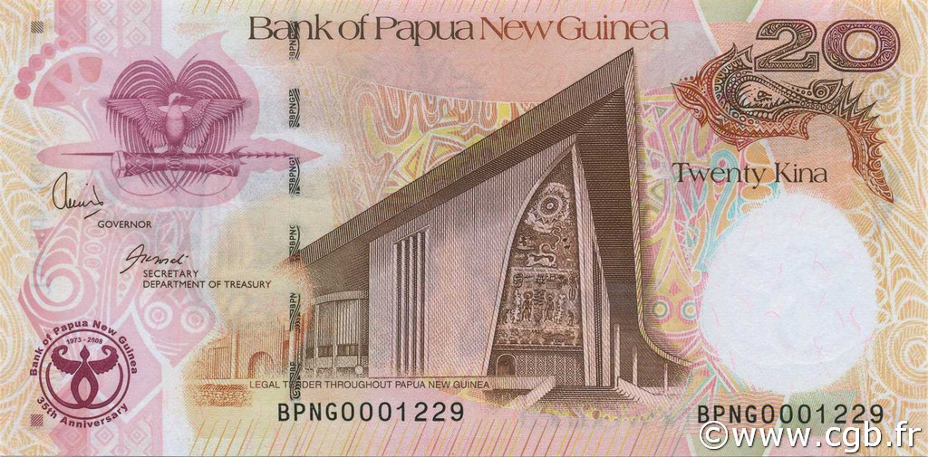 20 Kina PAPOUASIE NOUVELLE GUINÉE  2008 P.36a NEUF