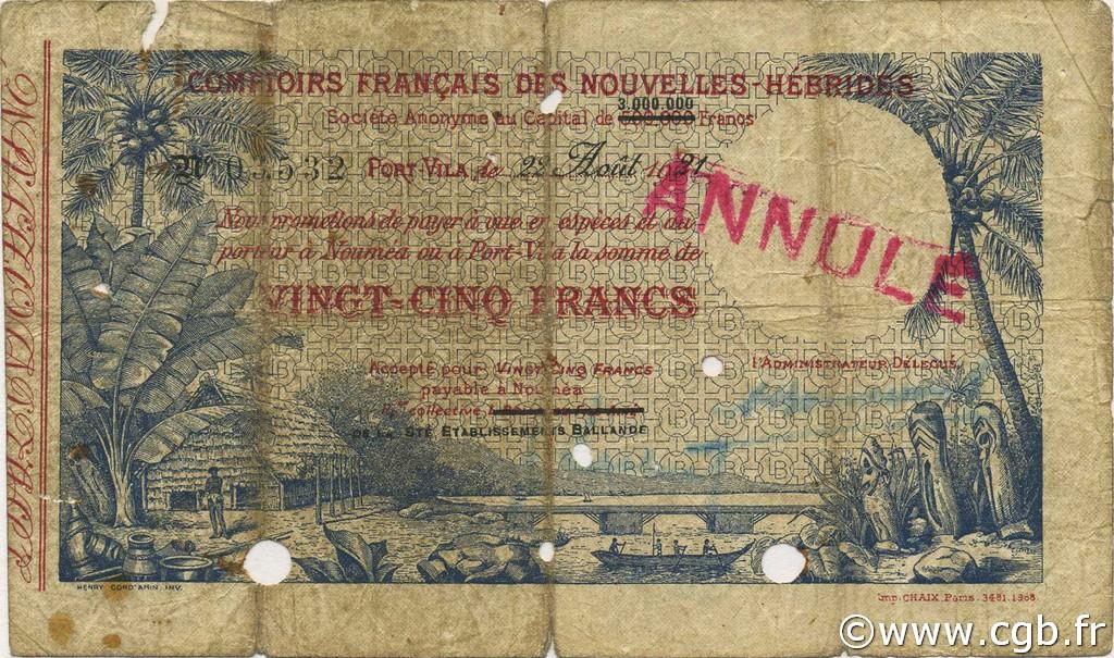 25 Francs NEW HEBRIDES  1921 P.A1