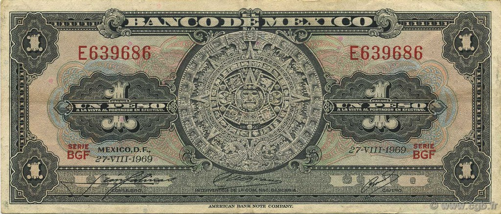 1 Peso  MEXIQUE  1969 P.059k TTB