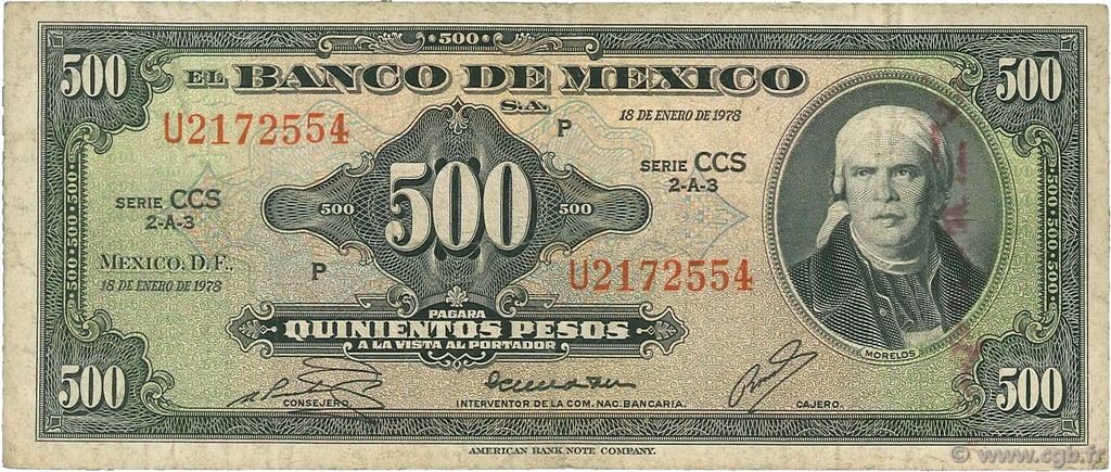 500 Pesos MEXIQUE  1978 P.051t TB