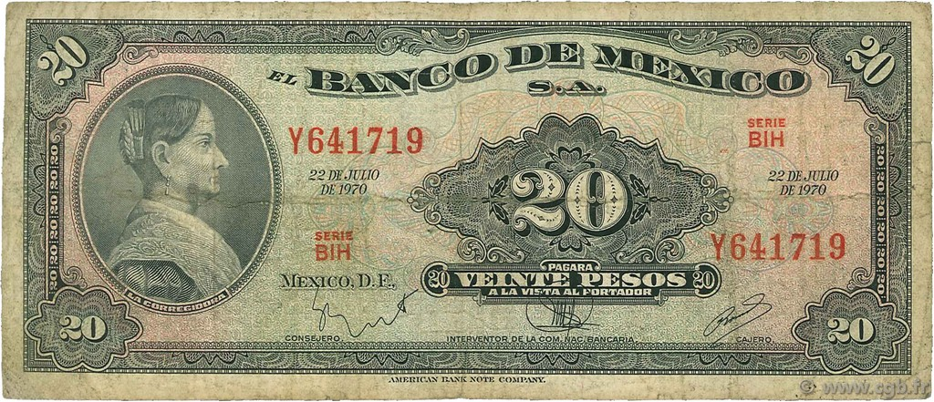 20 Pesos MEXIQUE  1970 P.054p B+