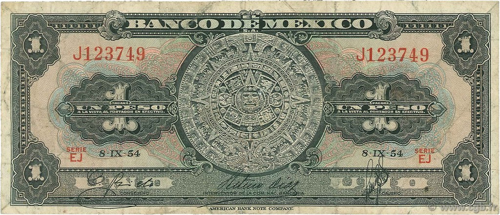 1 Peso MEXIQUE  1954 P.056b B