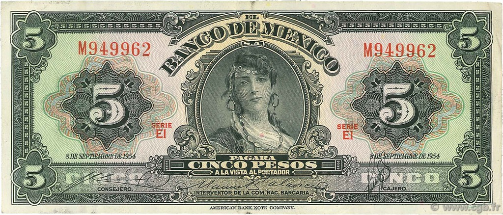 5 Pesos MEXIQUE  1954 P.057c TTB+