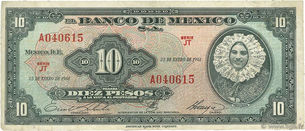 10 Pesos MEXIQUE  1961 P.058h TB+