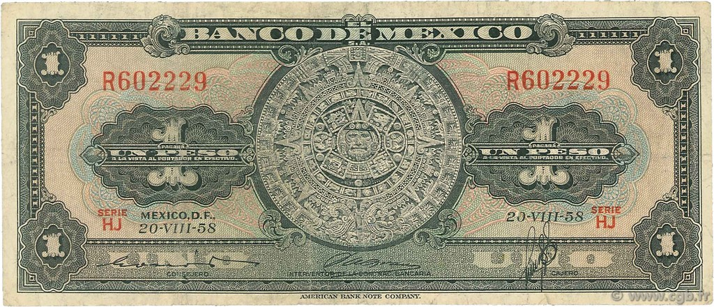 1 Peso MEXIQUE  1958 P.059d B
